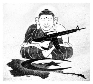 Editorial Art: Myanmar's Buddhist Oppression of Muslims by Lem Luminarias