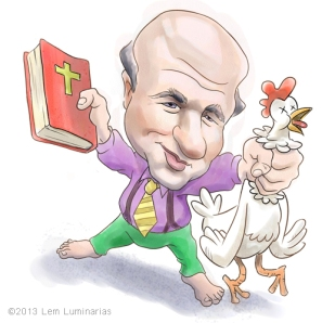 Caricature of Chick-Fil-A CEO Dan Cathy by Lem Luminarias