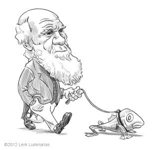 Caricature of Charles Darwin