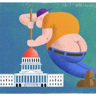 Cartoon of US Capitol Plumber by Lem Luminarias