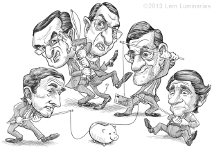 Caricautre of Leaders of the Euro Bailout Countries by Lem Luminarias