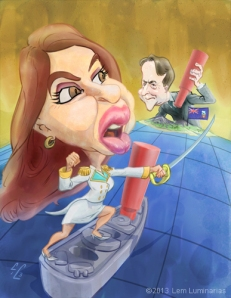 Caricature of Christina Kirchner and David Cameron by Lem Luminarias