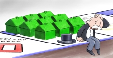Cartoon of Uncle Pennybags in Real Estate glut by Lem Luminarias