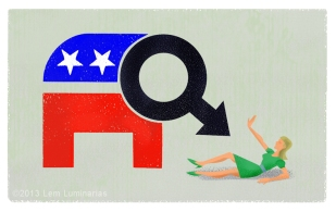 Cartoon of GOP War on Women by Lem Luminarias