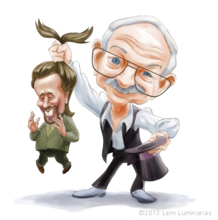 Caricature of Joe Nickell and Giorgio Tsoukalos by Lem Luminarias