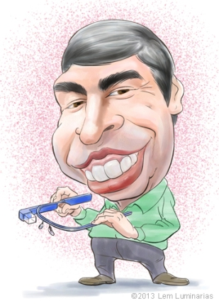 Caricature of Google CEO Larry Page by Lem Luminarias