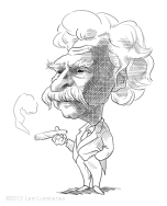 Caricature of Mark Twain by Lem Luminarias