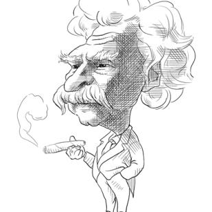 Caricature of Mark Twain by Lem Luminarias
