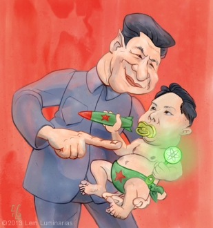 Caricature of Xi Jinping and Kim Jong-un by Lem Luminarias