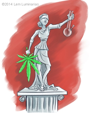 Cartoon of Lady Justice and Marijuana Legalization by Lem Luminarias