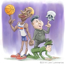Caricature of Dennis Rodman and Kim Jong-un by Lem Luminarias