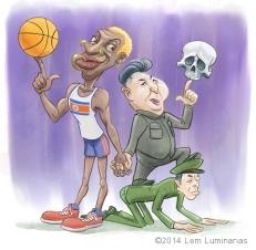 Caricature of Dennis Rodman and Kim Jong-un by Lem Luminarias