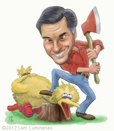 Caricature of Mitt Romney featuring Big BIrd by Lem Luminarias