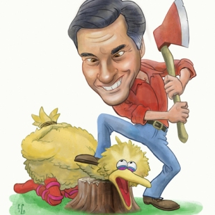 Caricature of Mitt Romney featuring Big BIrd by Lem Luminarias