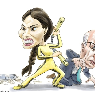 Caricature of Wendi and Rupert Murdoch by Lem Luminarias