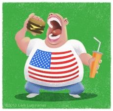 US Obesity Cartoon by Lem Luminarias