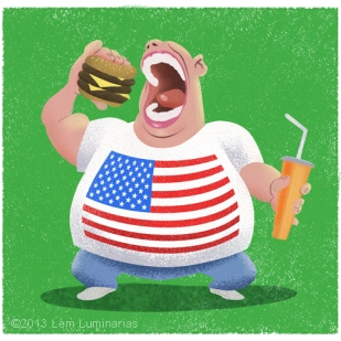 US Obesity Cartoon by Lem Luminarias