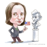 Caricature of Sarah Vowell by Lem Luminarias