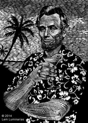 Scratchboard illustration of Abraham Lincoln in a Hawaiian shirt