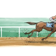 Lady Godiva horserace, Humorous Illustration by Lem Luminarias
