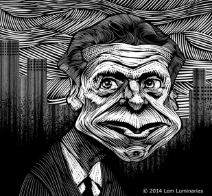 Scratchboard Caricature of New York Andrew Coumo by Lem Luminarias