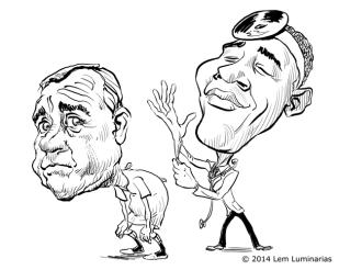 Caricature of John Boehner and Barack Obama by Lem Luminarias