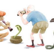 Snake Charmer, Humorous Illustration by Lem Luminarias