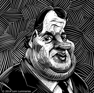 Scratchboard caricature of New Jersey governor Chris Christie
