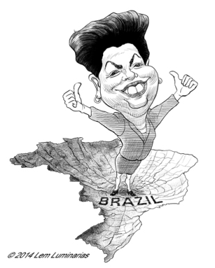 Caricature of Brazil President Dilma Rousseff by Lem Luminarias