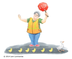 Duck crosswalk, Humorous illustration by Lem Luminarias