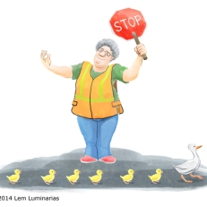 Duck crosswalk, Humorous illustration by Lem Luminarias