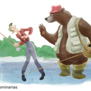 Bear flyfishing, Humorous Illustration by Lem Luminarias