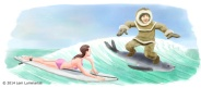 Eskimo surfing, Humorous illustration by Lem Luminarias