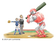 Intentional Walk, Humorous illustration by Lem Luminarias