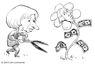 Caricature of Fed Chairman Janet Yellen by Lem Luminarias