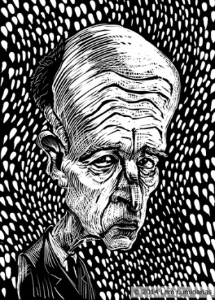 Scratchboard Caricature of California Governor Jerry Brown by Lem Luminarias