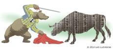 Bear Market Matador, Editorial illustration by Lem Luminarias