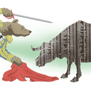 Bear Market Matador, Editorial illustration by Lem Luminarias
