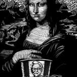 Scratchboard parody of the Mona Lisa eating KFC