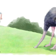 Ostrich Golf Putt; humorous illustration by Lem Luminarias