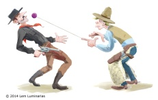 Quickdraw gunfight, humorous illustration by Lem Luminarias