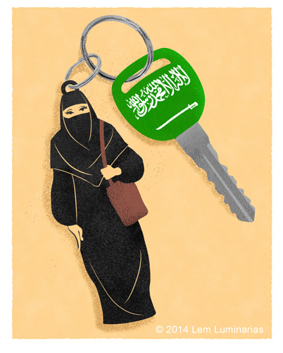 Editorial Cartoon about Saudi women's driving rights by Lem Luminarias