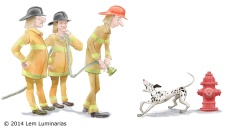 Firedog; Humorous illustration by Lem Luminarias