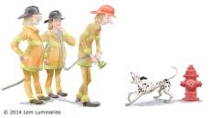 Firedog; Humorous illustration by Lem Luminarias