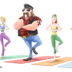 Biker yoga; humorous illustration by Lem Luminarias