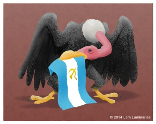 """Vulture fund"" editorial art by Lem Luminarias"