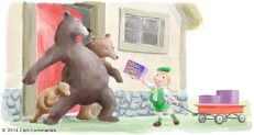 Three bears illustration by Lem Luminarias